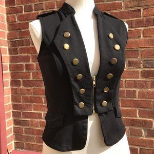 Military Zip Up Front Black Vest